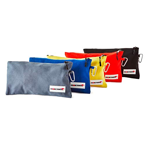 Canvas Tool Bag set of 5 - Small tool pouch set with zipper and carabiner clip. Professional heavy duty zippered tool pouch set - pouch bags for tools and hardware (12