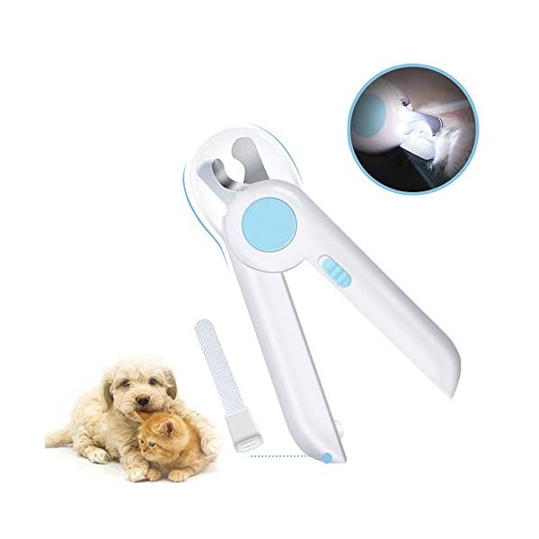 SYOSIN Dog Cat Nail Clippers and Trimmer,Pet Nail Clippers with LED Light to Avoid Over-Cutting Nails,Free Nail File and Razor Sharp Blade,Professional Grooming Tools at Home