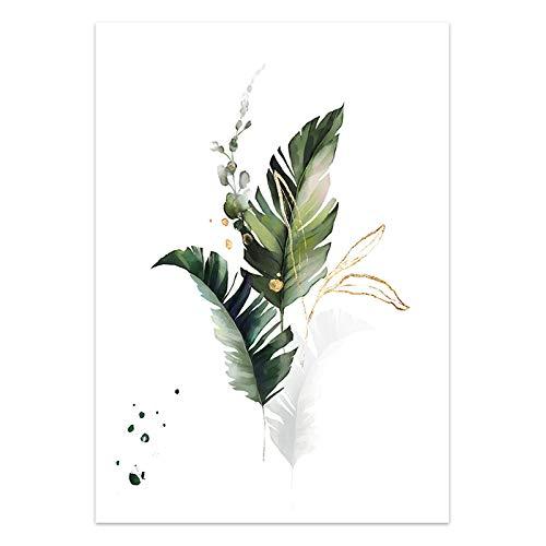 U/N Póster de Lienzo de Planta de Acuarela, Pintura con impresión de Arte botánico de Hoja, Imagen de Estilo nórdico, decoración Moderna para Sala de Estar-6