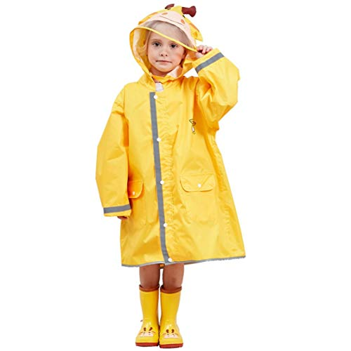 JZK Chubasquero impermeable poncho Impermeables chaquetas capa lluvia con mangas y capucha y rayas reflectantes para niños y niñas de 2-4 4-6 6-10 años, (M, Amarillo)