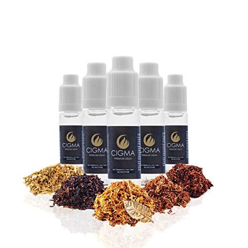 CIGMA 5 X 10ml E Liquid - Weltweite Tabakmischung, 0 mg (Ohne Nikotin) - Goldtabak - Türkischer Tabak - Klassischer Tabak - UK Mix Tobacco - US Tobacco