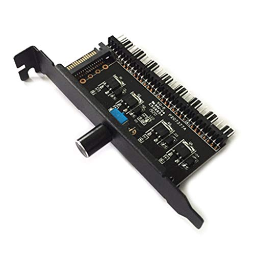 planuuik PC 8 Kanäle Fan Hub Lüfter Drehzahlregler für CPU-Gehäuse VGA PWM-Lüfter PCI-Halterung Stromversorgung über 12 V SATA / 4Pin-Lüftersteuerung