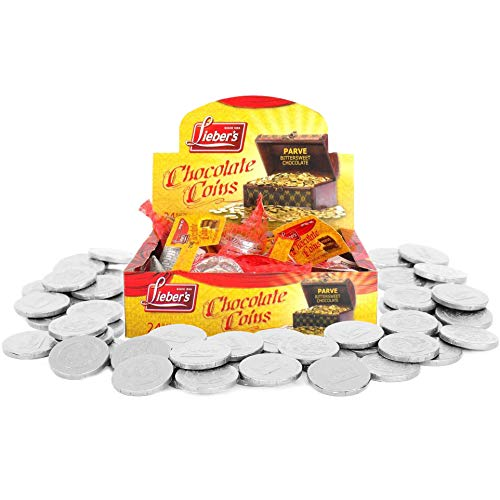 Lieber's Dairy Free Chocolate Coins, Bittersweet Chocolate Gelt, Hanukah Chocolate, Kosher Certified, 1.5 Oz Each (6 Mesh Bags)