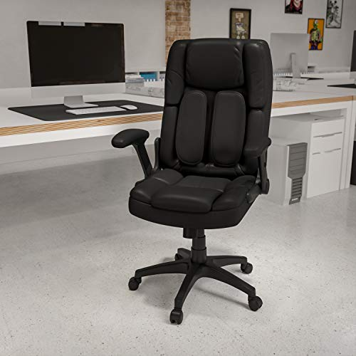 Flash Furniture Extreme Comfort High Back Black LeatherSoft Executive Swivel Ergonomic Office Chair with Flip-Up Arms