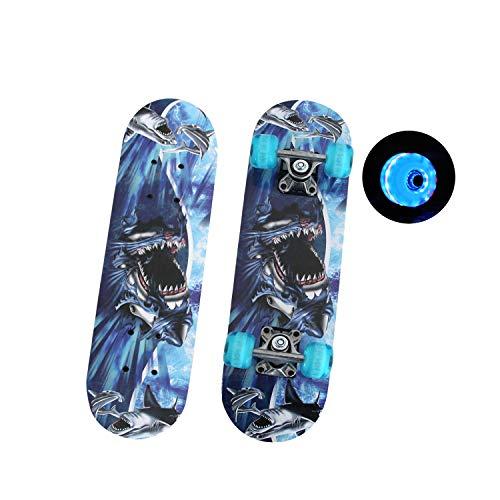 EnjoyFit Skateboard für Kinder 3-10 Jahren, Double Kick Trick Skateboard, Komplettboard mit LED Leucht-Rollen 60 * 15 cm, MAX. Belastbarkeit 50 KG (Weißer Hai)