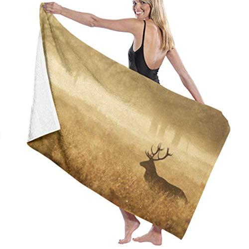 wusond Toalla de baño Microfibra Super Suave Toalla de baño Silueta Red Deer Stag Mist Alta absorción de Agua, Multiuso 80cm * 130cm para en baños, hoteles, gimnasios y SPA
