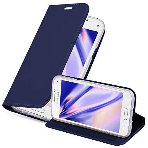 Cadorabo Hülle für Samsung Galaxy S5 Mini / S5 Mini DUOS in Classy DUNKEL BLAU - Handyhülle mit Magnetverschluss, Standfunktion & Kartenfach - Hülle Cover Schutzhülle Etui Tasche Book Klapp Style