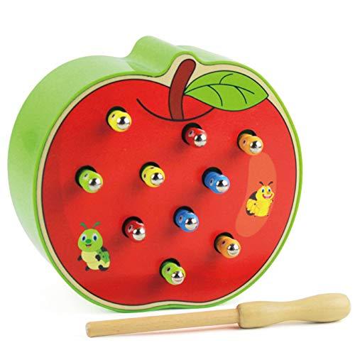Sxgyubt Bebé Juguetes de Madera 3D Puzzle de la Primera Infancia Juguetes Educativos Atrapa Gusano Juego Color Cognitivo Magnético Fresa/Manzana, verde manzana, tamaño único