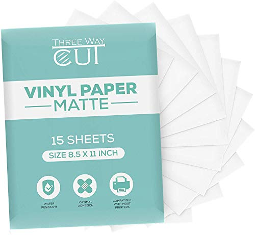 Printable Vinyl Sticker Paper Matte for Inkjet & Laser Printer 15 Sheets White, Decal Paper Tear & Scratch Resistant Quick Ink Dry, Cricut Sticker Paper for Making Labels and Crafts
