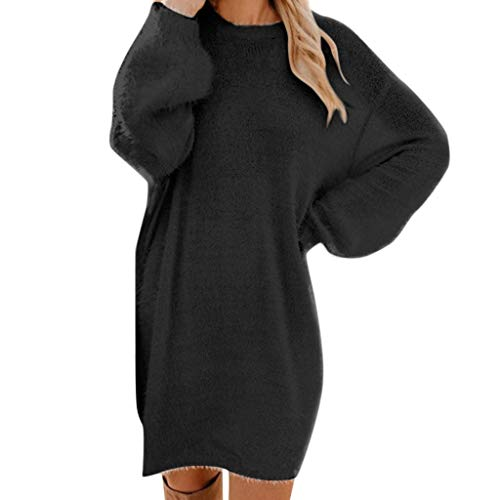 iHENGH Damen Winter Strickjacke Strick Rollkragen warmes langärmliges Taschen Minipullover Kleid(Schwarz, XL)