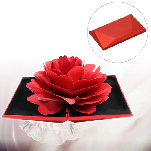 Ktdzone 3D Rose Ring Box Blooming Flower Engagement Wedding Ring Box Wedding Engagement Jewelry Storage Holder Case for Valentine's Day Wedding Gift Red