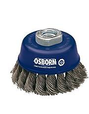 Osborn Cepillo de olla para amoladora angular de 115 mm, diámetro de 65 mm, rosca M 14 x 2, alambre de acero trenzado de 0,50 mm, certificado TÜV