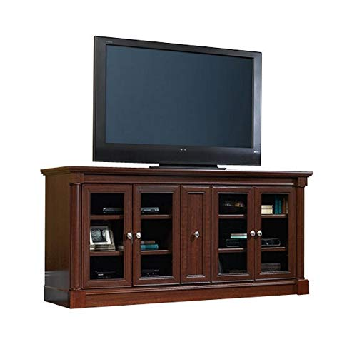 """Pemberly Row Entertainment Credenza with Cord Management, for TV's up to 70"""", 2 Door Options Included (Glass or Wood), Cherry Finish"""
