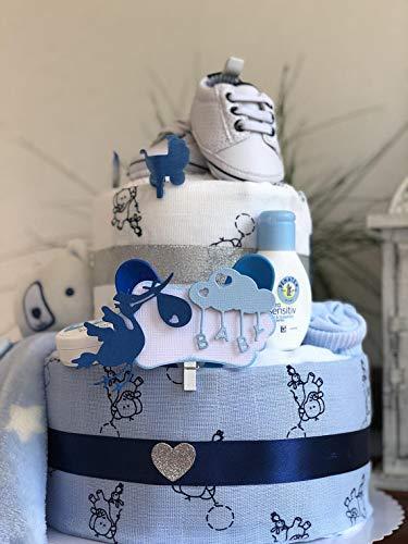Tarta de pañales para niños/Diaper Cake > Cake bebé regalo de nacimiento, bautismo, baby shower, para niñas y niños