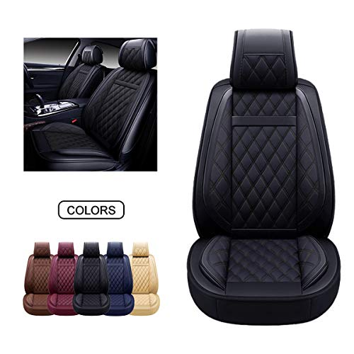 OASIS AUTO Leather Car Seat Covers, Faux Leatherette Automotive Vehicle Cushion Cover for Cars SUV Pick-up Truck Universal Fit Set for Auto Interior Accessories (Black, OS-009 Front Pair)