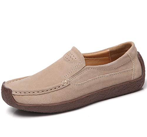ZYLL Zapatos de Primavera y otoño para Mujeres resbalones Casuales en Mocasines de conducción Suede al Aire Libre Caminar Zapatos Planos,Beige,36