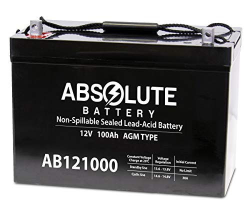 Absolute Battery AB121000 12V 100AH SLA AGM Battery for SUVPR XT-GP1500 Solar Power System