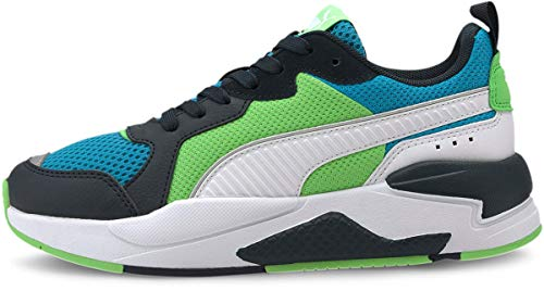 PUMA unisex-child X-RAY Sneaker, Dresden Blue White-Peacoat-Summer Green, 7 Big Kid