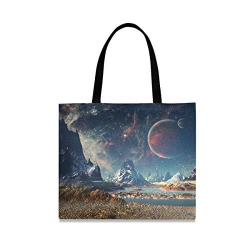 Fantástico Alien Planet con Luna y Montañas Bolsa de lona para mujeres, bolsas de comestibles reutilizables grandes con bolsillo interior, bolsa de compras para gimnasio, playa, viajes al aire libre