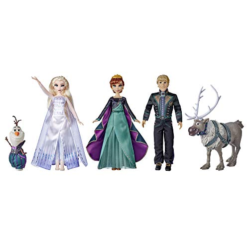 Disney Frozen 2 Frozen Finale Set, Anna, Elsa, Kristoff, Olaf, Sven Dolls with Fashion Doll Clothes and Accessories, Toy for Kids 3 and Up (Amazon Exclusive)