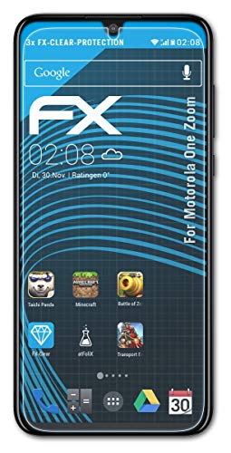 atFolix Schutzfolie kompatibel mit Motorola One Zoom Folie, ultraklare FX Bildschirmschutzfolie (3X)