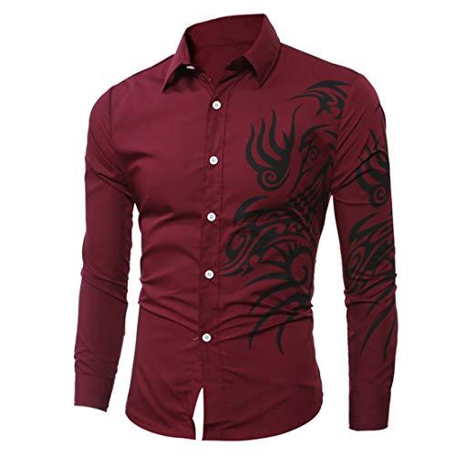 Men Shirts Men Shirt Comfortable Lapel Print Simple Button Men Shirts Autumn New Slim Boutique Soft Business Casual Fashion Boutique Lightweight Men Shirt H-Wine Red XXL