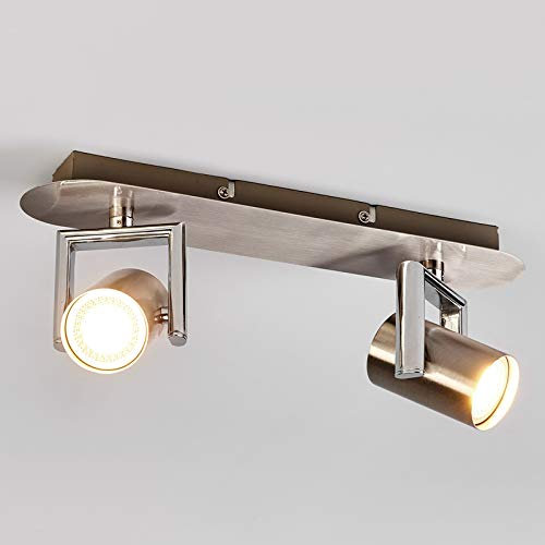 Lindby LED Deckenlampe 'Luciana' (Modern) in Alu aus Metall u.a. für Flur & Treppenhaus (2 flammig, GU10, A+, inkl. Leuchtmittel) - Deckenleuchte, Wandleuchte, Strahler, Spot, Lampe, Flurleuchte