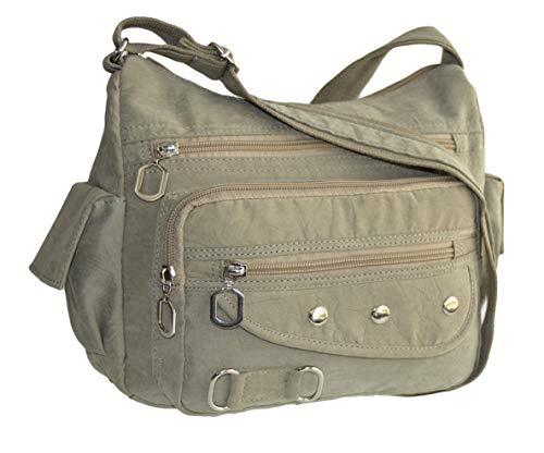 Leichte Sportlische Damen Schultertasche Umhängetasche Handtasche Stofftasche Bag Crossover (Grau)