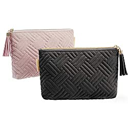 """Package: black cosmetic bag x 1 + pink makeup bag x 1 Capacity: 8.7"""" x 5.5"""" x 1.6"""". Enough to carry daily cosmetics,lipstick, makeup brush or other small items. Attractive Makeup Pouch: The stylish fringed zipper make it easy to use. Durable Cosmetic..."""