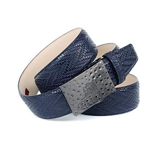 Anthoni Crown Ledergürtel Cintura, Blu Scuro, 100 cm Uomo