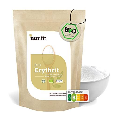 nur.fit BIO Erythrit 1kg – natürliche Zucker-Alternative ohne Kalorien – Zucker-Ersatz ohne Zusätze – veganer Erythrit-Zucker als Zuckersubstitut