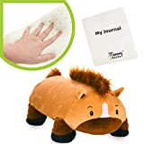 """MEMORY MATES Hank The Buckskin Horse Memory Foam Pillow Plush with Kid's Diary That Stores in Belly Pocket, 15"""" Stuffed Animal, 6' Journal"""