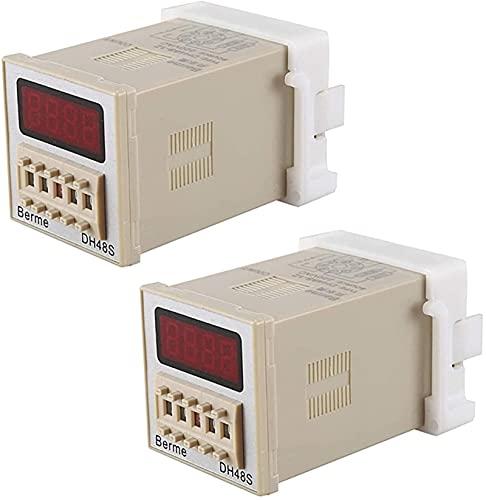 Lifeyz Interruptor Temporizador programable relé de Tiempo LED Digital DH48S-1Z de 2 uds 0.01S-99H AC 220V con Base de Enchufe