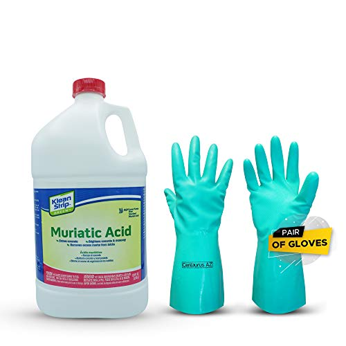 Klean Strip Green Muriatic Acid- Eco friendly, Brightens Masonry, Etch Concrete, Removes Excess Mortar from Bricks and Cleans Algae and Scum- 1 Gallon Plus Centaurus AZ Chemical Resistant Gloves