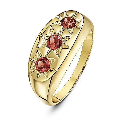 Theia Women's 9 ct Yellow Gold, Round Garnet Stones Set in a Star Designed Setting Super Heavyweight Ring, Size R