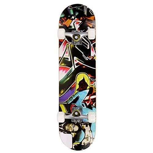 Oppikle Cool Longboard Complete-Board,6 Verschiedene Deck-Designs Pattern Sport Skateboard,Cruiser Skateboard (Freestyle Graffiti)