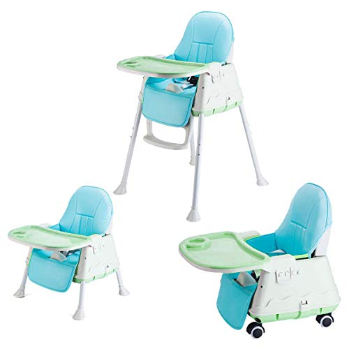 SYGA High Chair for Baby Kids,Safety Toddler Feeding Booster Seat Dining Table Chair with Wheel and Cushion(Green)
