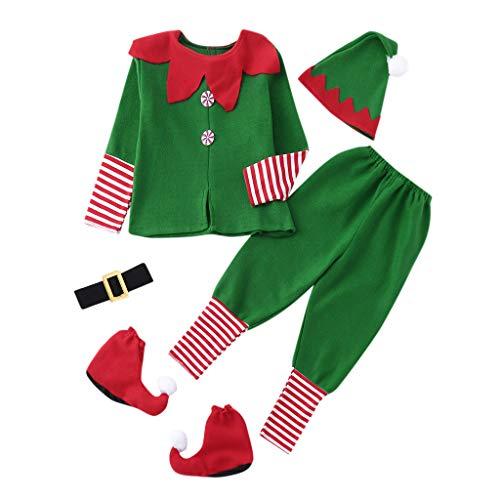 BBsmile Disfraz Infantil para Navidad Unisex Niños de Elfo Vestido Top Blusa + Sombrero Disfraz de Santo Equipo del Duende 2-14 Años