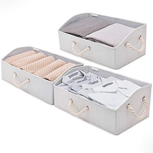 StorageWorks Closet Storage Bins, Trapezoid Storage Box, Fabric Bins and Baskets, Mixing of Beige, White & Ivory, Jumbo, 3-Pack
