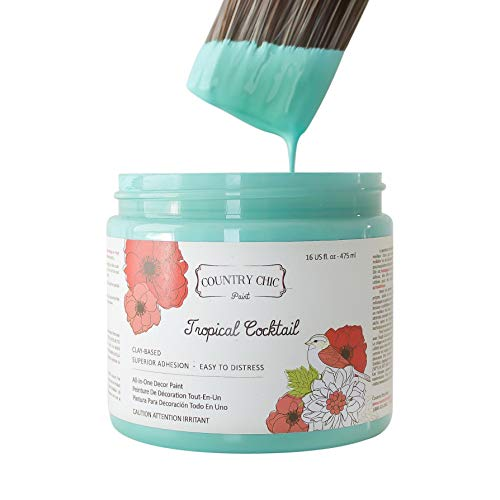 Chalk Style Paint - for Furniture, Home Decor, Crafts - Eco-Friendly - All-in-One - No Wax Needed (Tropical Cocktail [Turquoise], Pint (16 oz))