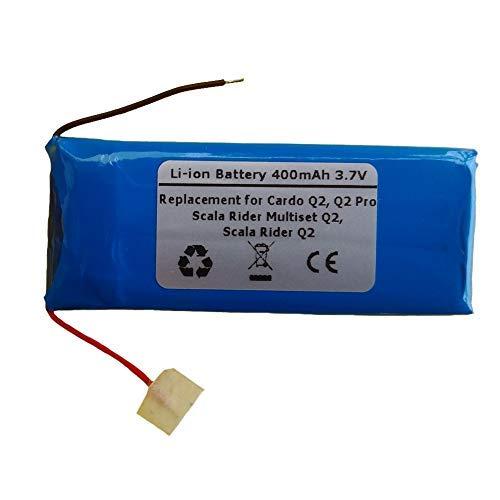 3.7V 400mAh Ersatzbatterie für Cardo Q2, Q2 proScala Rider, Scala Rider Q2, Scala Rider Multiset Q2 Bluetooth Headsets
