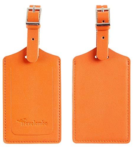 Travelambo Leather Luggage Bag Tags (Orange 3243 Hot Orange)