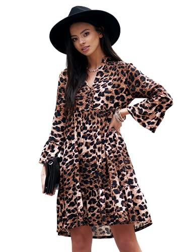 Letnia sukienka damska - sukienka z wiskozy - sukienka z długim rękawem z miękkiego materiału - letnia sukienka damska elegancka - letnia sukienka z wzorem w panterę - idealna na słoneczne dni, wzór w cętki, M