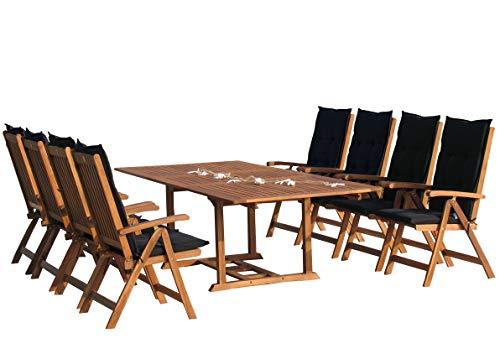 GRASEKAMP Qualität seit 1972 Garten Möbelgruppe Cuba 17tlg Premium Anthrazit mit ausziehbaren Tisch auf 240 cm