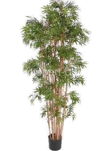 artplants.de Set 'Caña de bambú Artificial + Spray de protección UV' - Planta Bambu Artificial Naruto, Troncos Naturales, Verde, 150cm