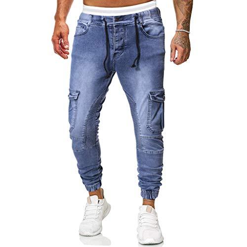 Ode-Joy Uomo Autunno Informale Denim Cotton Vintage Lavare Il Lavoro Hip Hop I Pantaloni - Jeans-Pantaloni Elasticizzati da Uomo, vestibilità Aderente, Pantaloni Chino a Gamba Dritta(Blu,M)