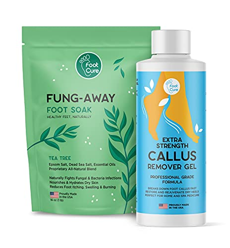 Foot Cure Callus Remover Gel Kit With Tea Tree Oil Foot Soak - Remove Calluses On Feet w/File Pumice Stone, Best Pedicure Foot Scrubber For Dead Skin, Spa Exfoliating Treatment, Repair Cracked Heels