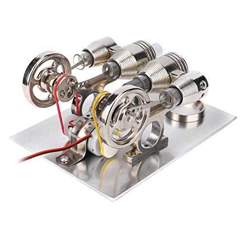 Hztyyier Motor Stirling de Aire Caliente de 4 Cilindros, generador de energía en Miniatura, Volantes LED Coloridos, Modelo de enseñanza de Laboratorio de física