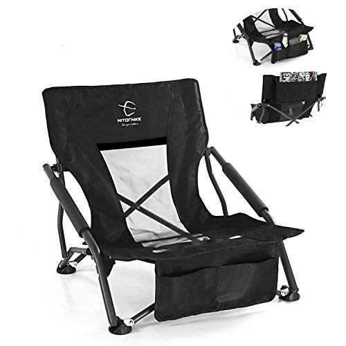 Hitorhike Low Sling Beach Camping Concert Folding Chair with Armrests and Breathable Nylon Mesh Back Compact and Sturdy Chair (Black)
