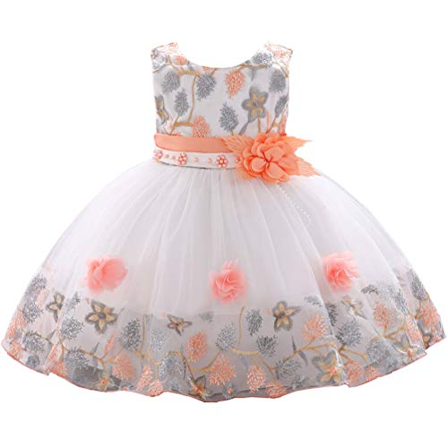 12 18 24 Months Formal Pageant Princess Easter Dresses for Girls Embroidery Sleeveless 2T Little Girl Elegant Spring Prom Lace Dresses 24M Orange